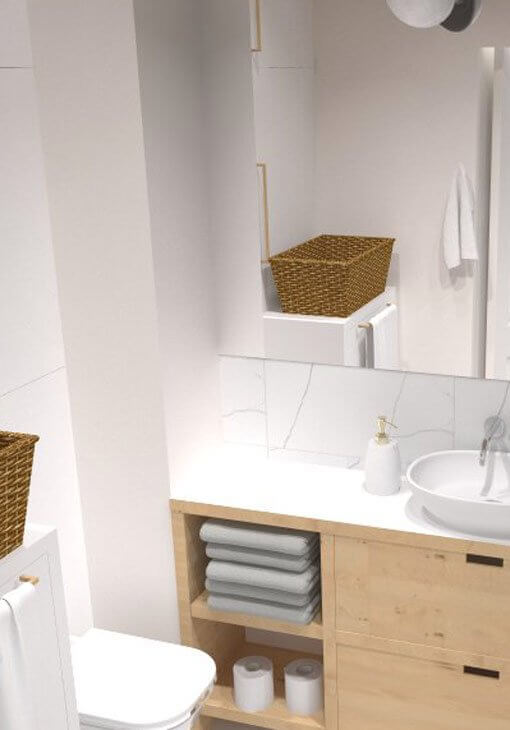 Biała łazienka z koszykiem
