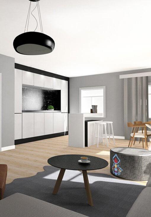 Projekt kuchni i salonu