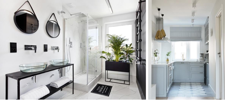 Nowoczesna łazienka i błękitna kuchnia